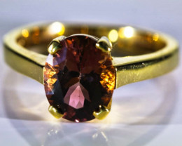 Padparadscha Colored Tourmaline 3.03ct Solid 18K Yellow Gold Ring