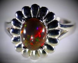 Black Opal 2.40ct Platinum Finish Solid 925 Sterling Silver Ring