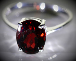 Pyrope 3.45ct Platinum Finish Solid 925 Sterling Silver Ring