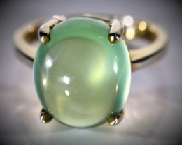 Prehnite 8.20ct Rhodium Finish Solid 925 Sterling Silver Ring
