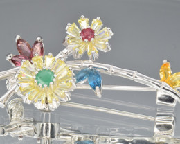 Natural Mix Stones and Silver Brooch 27 Cts, Outstanding Design