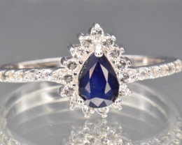 Natural Sapphire, White Topaz and 925 Silver Ring