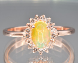 Natural Opal, White Topaz and 925 Silver Ring