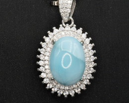Natural Larimar, CZ and 925 Silver Pendant