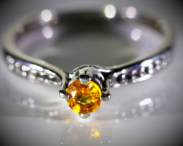 Spessartine .39ct Solid 925 Sterling Silver Ring
