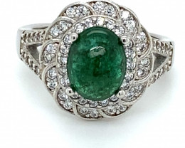 Zambian Emerald 2.44ct Platinum Finish Solid 925 Sterling Silver Ring