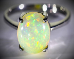 White Opal 3.80ct Platinum Finish Solid 925 Sterling Silver Ring