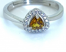 Sphene .60ct White Gold Finish Solid 925 Sterling Silver Ring