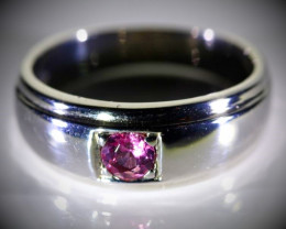 Red Tourmaline .24ct Platinum Finish Solid 925 Sterling Silver Ring