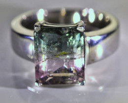 Watermelon Tourmaline 4.75ct Platinum Finish Solid 925 Sterling Silver Ring