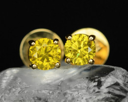 18k Yellow Gold 1.13 Gram 0.48 Cts Yellow Diamond Earrings
