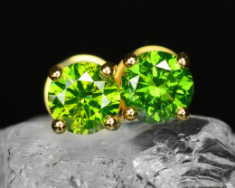 18k Yellow Gold 1.55 Gram 0.94 Cts Green Diamond Earrings