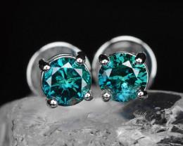 18k White Gold 1.27 Gram 0.53 Cts Blue Diamond Earrings