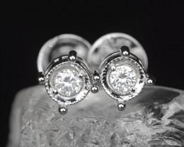 18k White Gold 1.55 Gram 0.10 Cts White Diamond Earrings
