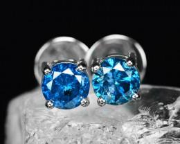 18k White Gold 1.30 Gram 0.62 Cts Blue Diamond Earrings