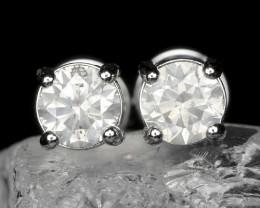 18k White Gold 1.57 Gram 0.80 Cts White Diamond Earrings