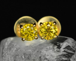 18k Yellow Gold 1.13 Gram 0.40 Cts Yellow Diamond Earrings
