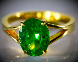Tsavorite Garnet 3.31ct Solid 22K Yellow Gold Ring