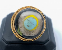 72.35 Crt Antique Design Gold Gilded Ring