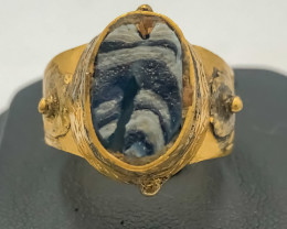 32.55 Crt Antique Design Gold Gilded Ring