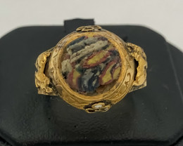 25.95 Crt Antique Design Gold Gilded Ring