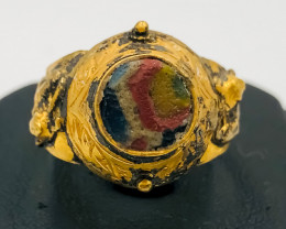 31.55 Crt Antique Design Gold Gilded Ring