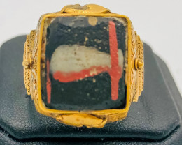 55.60 Crt Antique Design Gold Gilded Ring