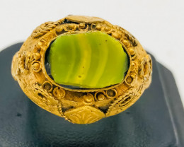 61.80 Crt Antique Design Gold Gilded Ring