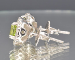 Natural Peridot, CZ and 925 Silver Ear Studs