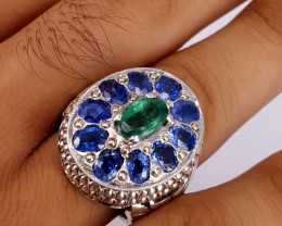 Natural Sapphire and Emerald Men Ring.