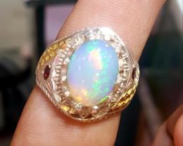 Natural Welo Fire Opal Men Ring.