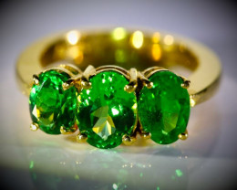 Tsavorite Garnet 4.11ct Solid 22K Yellow Gold Multistone Ring