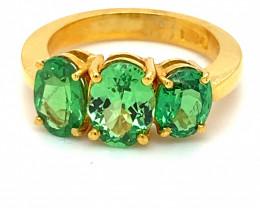 Tsavorite Garnet 4.11ct Solid 22K Yellow Gold Multistone Ring