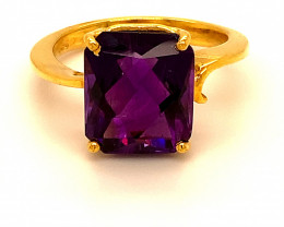 Amethyst 6.55ct Solid 18K Yellow Gold Ring 6g