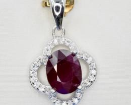 Natural Ruby, CZ and 925 Silver Pendant, Elegant Design