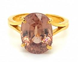 Imperial Zircon 11.15ct Solid 22K Yellow Gold Ring