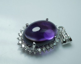 NATURAL AMETHYST PENDENT 92.5 SOLID SILVER STERLING PENDENT    Z14