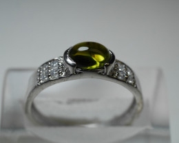 NATURAL GREEN TOURMALINE OVAL SHAPE 92.5 STERLING RING(7.00 US ) Z12