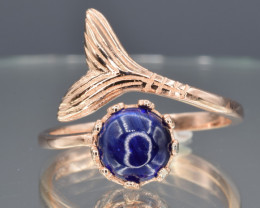 Natural Sapphire and Gold Plated 925 Silver Ring