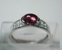 NATURAL TOURMALINE  92.5 STERLING RING( 6.75US) Z15
