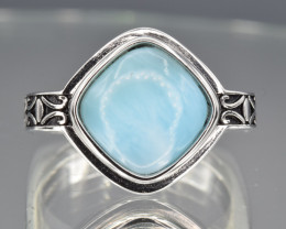Natural Larimar and 925 Silver Ring