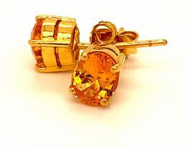 Mandarin Spessartine 2.50ct Solid 18K Yellow Gold Earrings