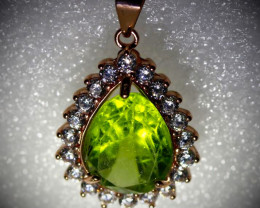 Peridot 4.50ct Rose Gold Finish Solid 925 Sterling Silver Pendant