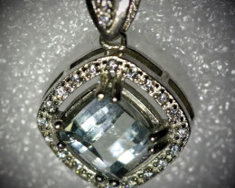 Aquamarine 1.50ct White Gold Finish Solid 925 Sterling Silver Pendant