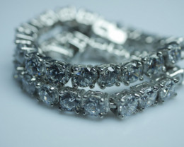 92.5 Solid Silver Bracelet With Cubic Zircon (4 mm )