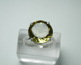 NATURAL CITRINE ROUND SHAPE 92.5 STERLING RING (8.50 US)