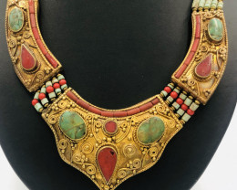 605 Crt  Gold Gilded Necklace Brass Material