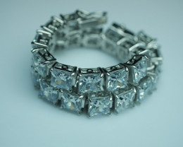 92.5 Solid Silver Bracelet With Cubic Zircon ( 7 mm )