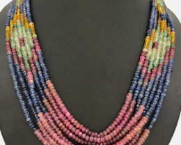 575 Crt Ruby and Emerald & Sapphire Necklace