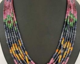 515 Crt Natural Ruby & Emerald And Sapphire Necklace